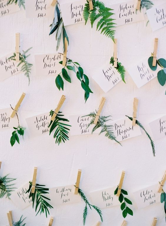 cute botanical wedding escort cards