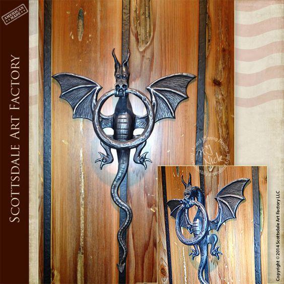 Dragon door knockers medieval castle inspired design for Custom made door knockers