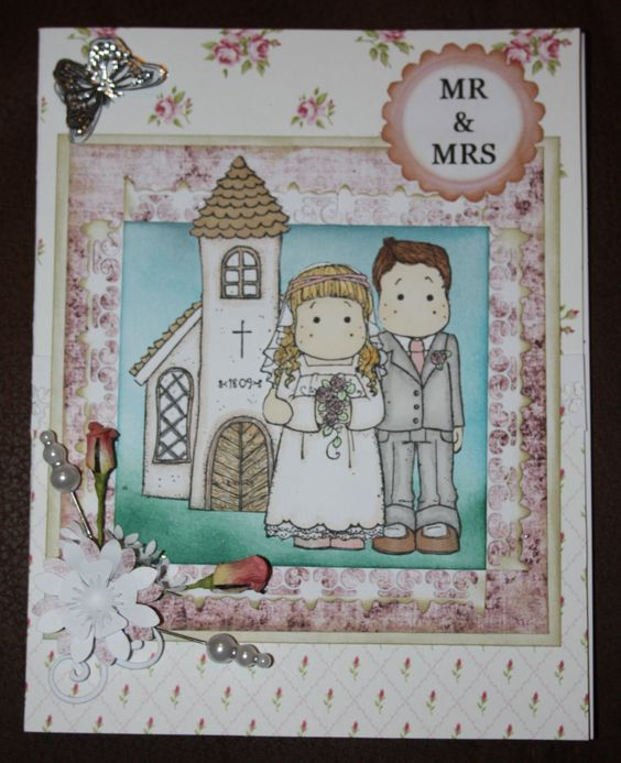 Tilda Wedding card coloured in with Promarkers.