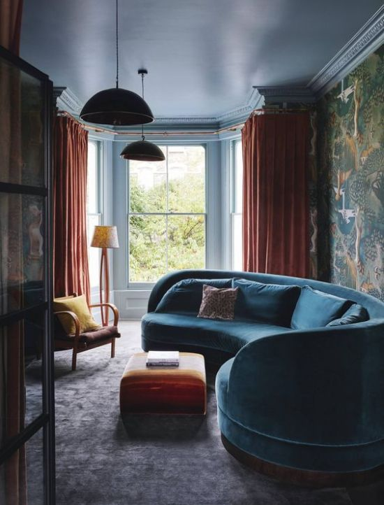 Moody And Bold Living Room With A Curved Blue Sofa Bold Living Room Curved Sofa London House