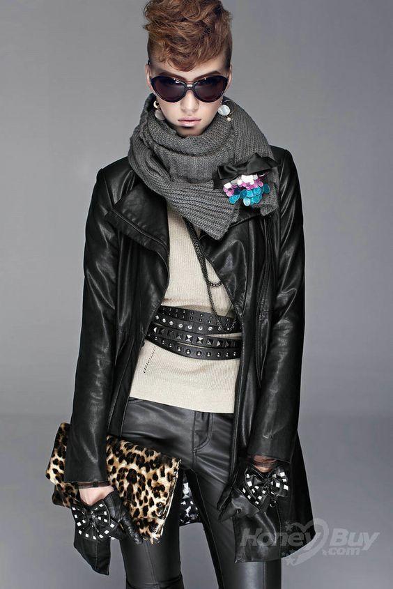 Futuristic Imitated Leather Coat Black Fashion Outerwear