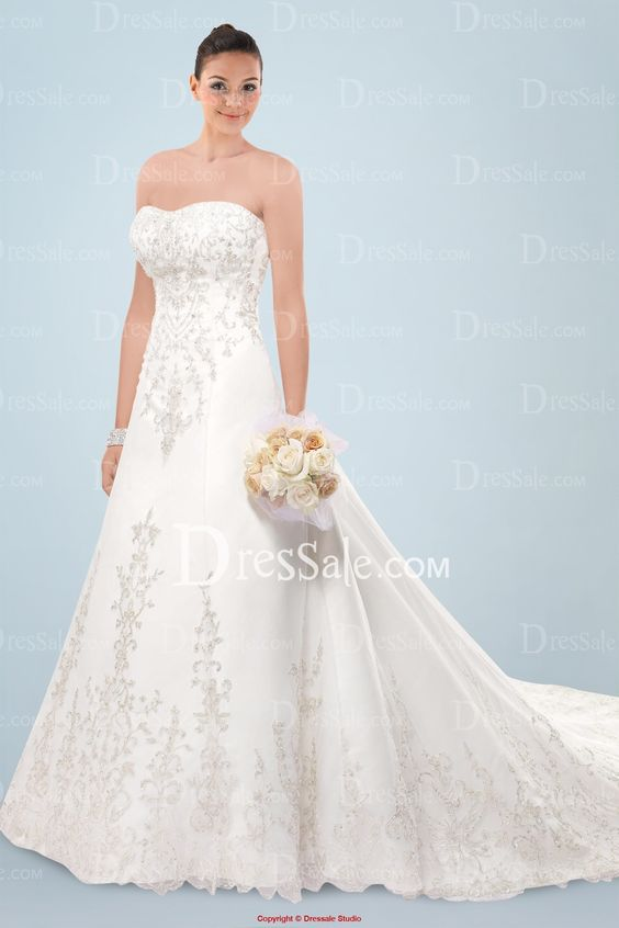 Luxurious Looking Ivory Strapless Bridal Gown with Romantic Beaded Lace Motif