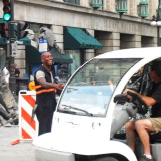 Tyrese on the set of Transformers 3 here in Chicago
