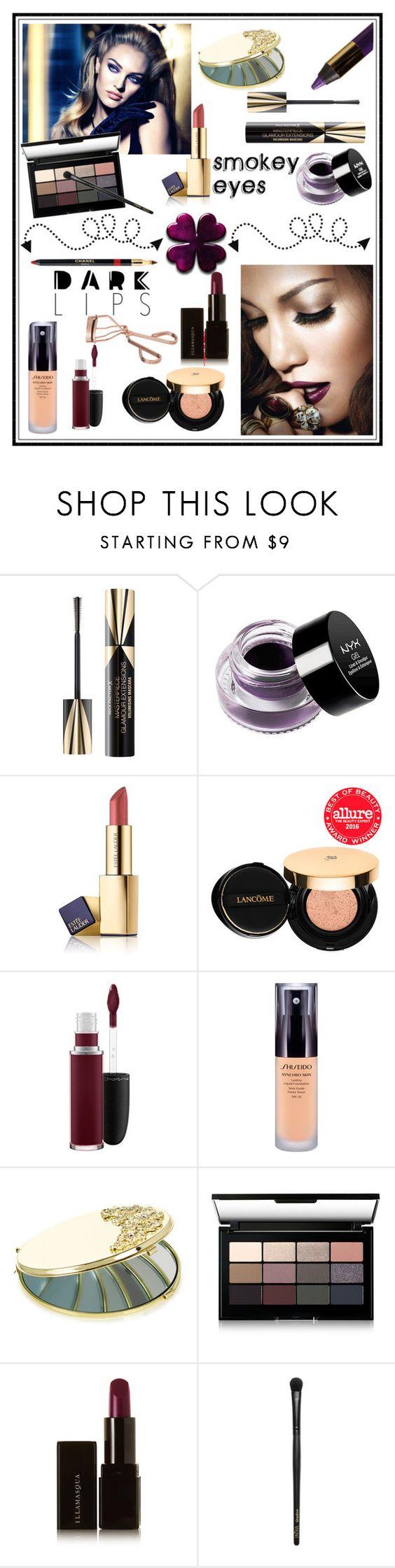 """SMOKEY EYES, DARK LIPS!!!"" by kskafida ❤ liked on Polyvore featuring beauty, Max Factor, NYX, Estée Lauder, L'Oréal Paris, Lancôme, MAC Cosmetics, Shiseido, Monsoon and Bobbi Brown Cosmetics"