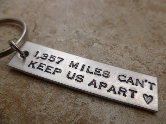 Gift for him Gift for Her Long Distance Relationship Keychain Custom with your miles  personalize  LDR  Long Distance Love LDRship family
