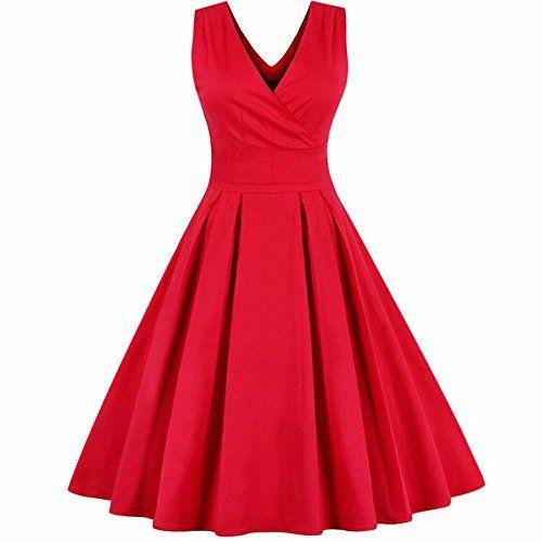 Rolansica 50s Vintage Retro Rockabilly Kleid Sommerkleid Partykleid Cocktailkleid Knielang Grosse Grossen Red L Partykleid Cocktailkleid Dirndl Trachten