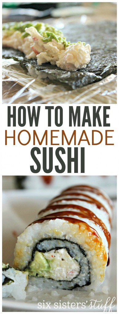 How To Make Homemade Sushi on Six Sisters' Stuff   If you love sushi but don't want to spend a fortune on it, this recipe is for you. It shows you step by step how to make sushi in your own home and includes a recipe for delicious crab sushi!