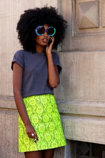 Julia Sarr Jamois, fashion editor of Wonderland magazine. #Neon skirt by Christopher Kane