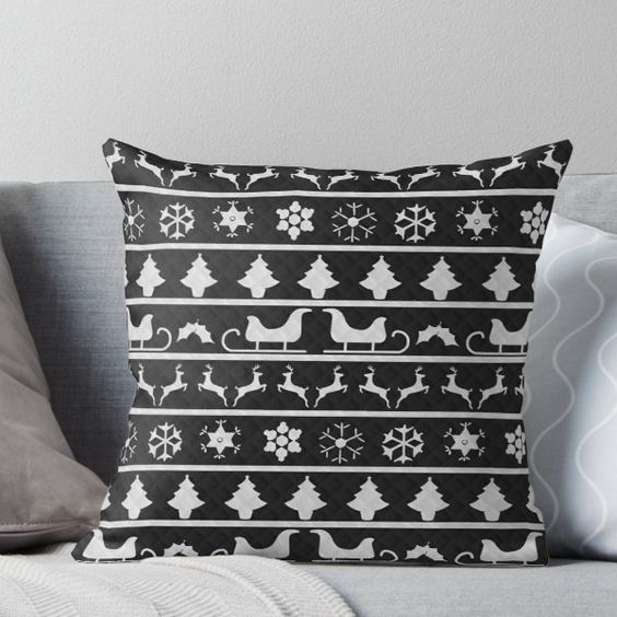 Black and White Christmas Nordic Fair Isle Knit Throw Pillow
