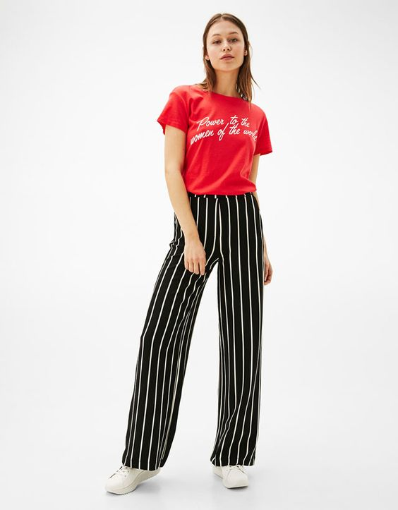 Striped, long legged pants