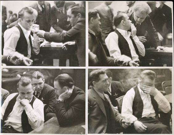 John Dillinger conferring with lawyers in court, Crown Point, Indiana 1934
