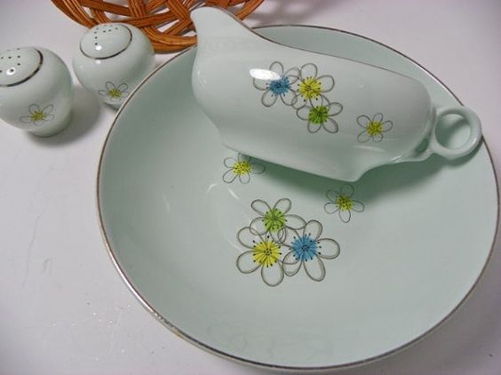 Mint Green Atomic Flowers China Bowl Gravy Boat and by Chaseyblue