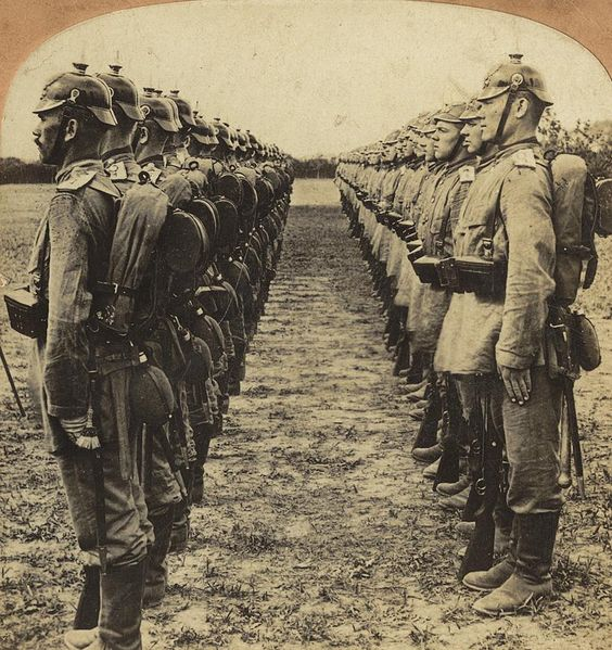 German soldiers standing at attention somewhere in China during the Boxer Rebellion, c. 1901. By Benjamin West Kilburn.