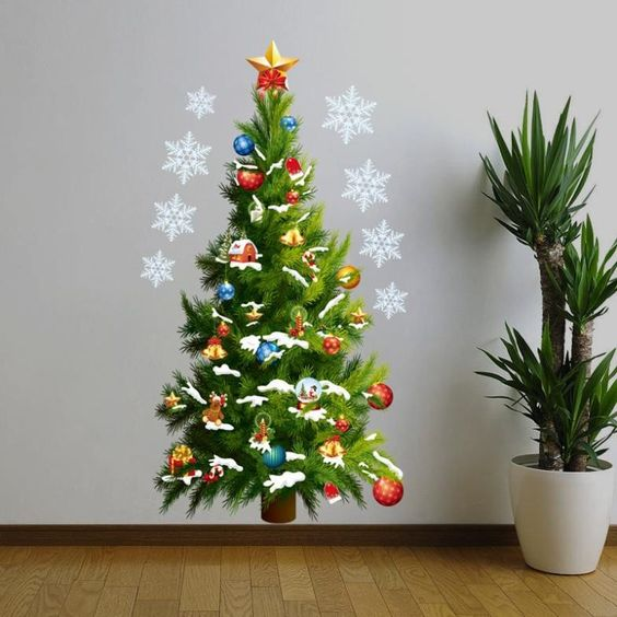 45*82cm Christmas Tree Wall Sticker Vinyl Removable Wall Stickers Home Wall Decor Poster vinilos paredes: