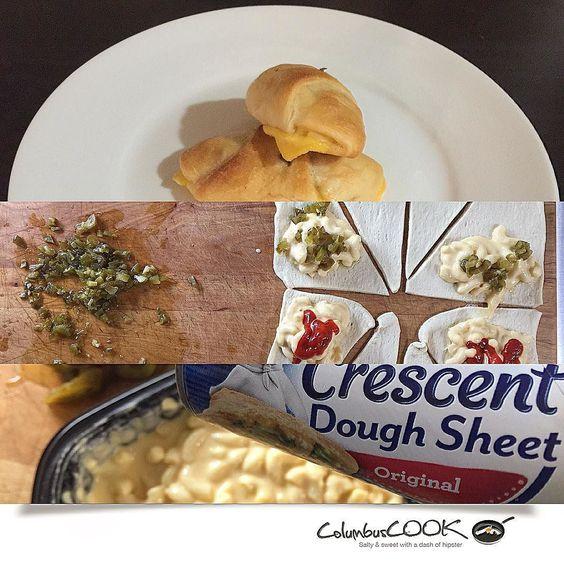 #crescentrolls dough w/ #macandcheese & #jalapeños stuffed inside.  Good stuff.  I know it's very #pinterestmom but it's kid night.
