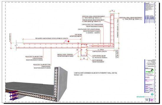 Cantilever Veranda Slab With Parapet Wall Detail Parapet Reinforced Concrete Concrete Slab