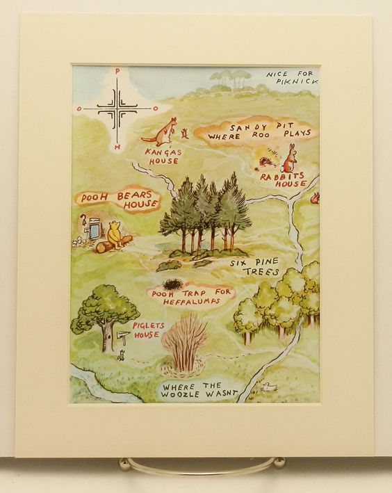A map pooh bears house print w mat vintage classic for Classic pooh nursery mural