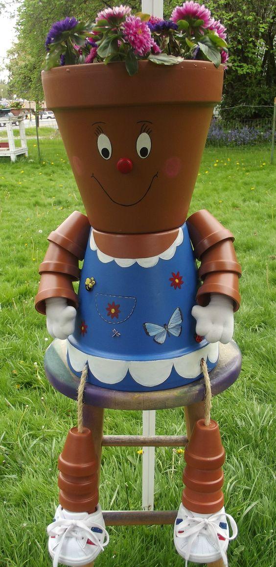 Blue Flower pot Girl: