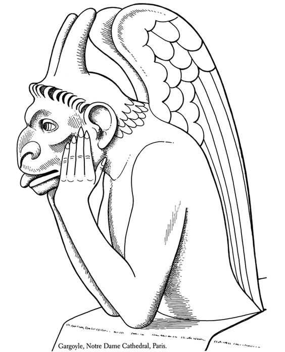 printable coloring pages of gargoyles - photo#1