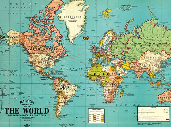 Vintage World MapOld World Map Vintage By ModernismAndVintage - Image world map