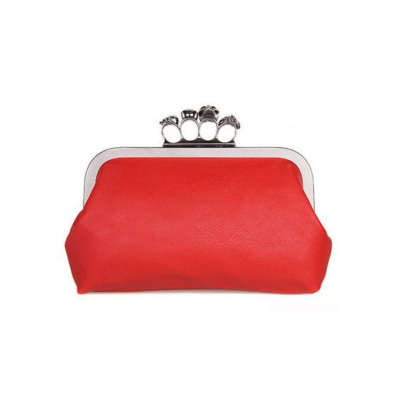 Red Skull Ring PU Chain Clutch Bag ($40) via Polyvore