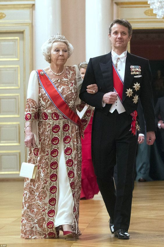 Crown Prince Frederik of Denmark and Princess Beatrix of the Netherlands arrive together a...