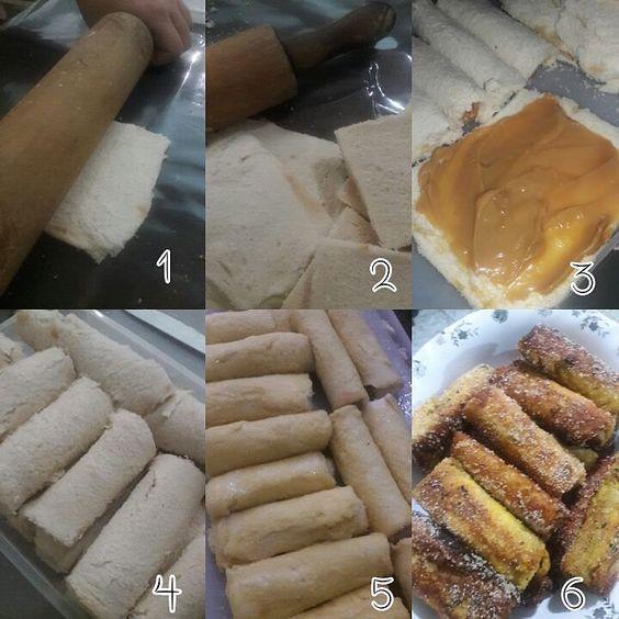 Churros de pão de forma com doce de leite  Amooo !!! #churros #docedeleite #boanoite
