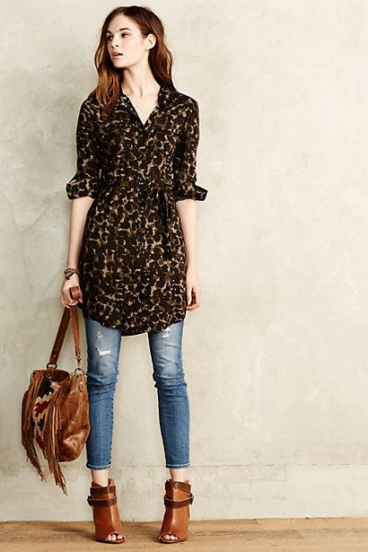 "Leopard tunic and jeans combo w/ leather bag and booties...I""d sub flats for the booties."