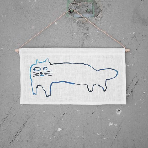 NEW * Cat wall hanging (limited edition) - Mogu Takahashi  by Fine Little Day  * www.the-pippa-and-ike-show.com