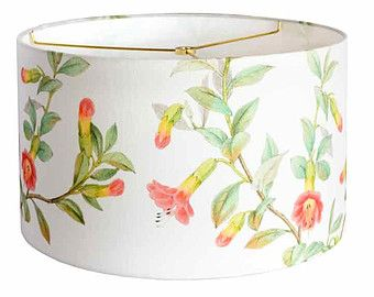 Linen Summer Cottage Lamp Shade - Yellow Coral Aqua Green Flower Lampshade - 13 14 15 Inch Drum Lamp Shade - Custom Made to Order Lamp Shade