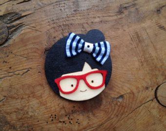 Handmade wooden brooch painted brooch cute girl by MimmaBoutique