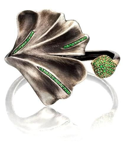 Babette Shennan Gingko Cuff.  Tsavorite, sterling silver and yellow gold in antiqued silk finish.