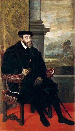 Karel V - Geboren Gent, 24 februari 1500, gestorven Cuacos de Yuste, Spanje, 21 september 1558. Was keizer van het Duitse rijk en koning van Spanje en vele kolonies.
