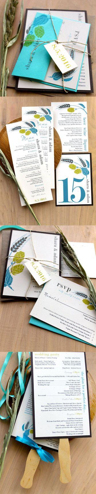 Hops Love  Rustic Wedding Invitations Kraft Hemp by BeaconLane,