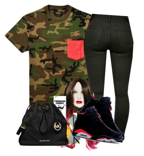 """""""Bored"""" by deasia-still-thugin-honey ❤ liked on Polyvore featuring beauty, 10.Deep, MICHAEL Michael Kors, Retrò and NIKE"""