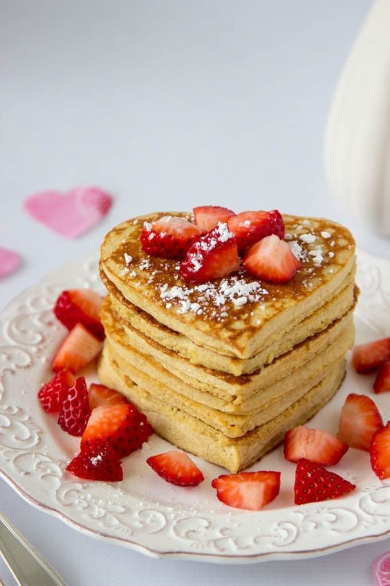 High protein oatmeal pancakes-heart-shaped-valentines-day valentines #valentinesday
