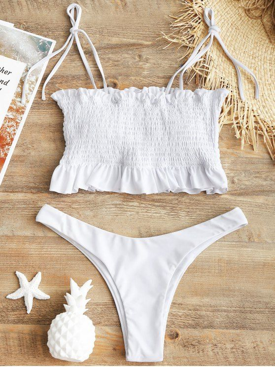 huge sale new items save up to 80% Self-tie Smocked High Cut Bikini Set | Clothes and stuff in ...