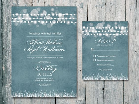 Romantic Garland Wedding Invitation and Reply Card Set -3 colors set - Wedding Stationery. $1.35, via Etsy.