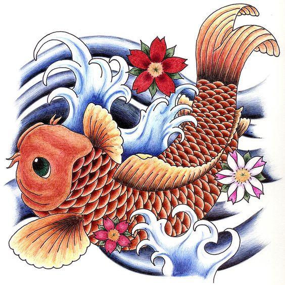 Playing koi drawing playing koi fine art print tats for Dragon koi fish for sale