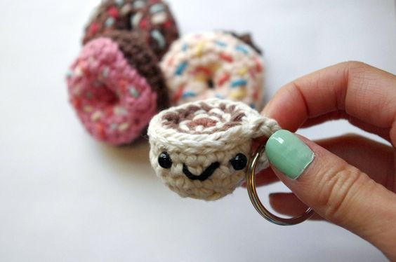 Coffee Latte Keychain - Crochet. $7.00, via Etsy.