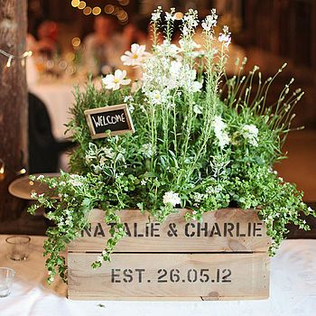 Personalised Crate - Small Wedding Gift; would look nice on back of pallet bench for front porch.