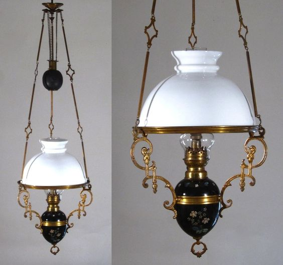 Antique French Hanging Oil Lamp Weighted Chandelier