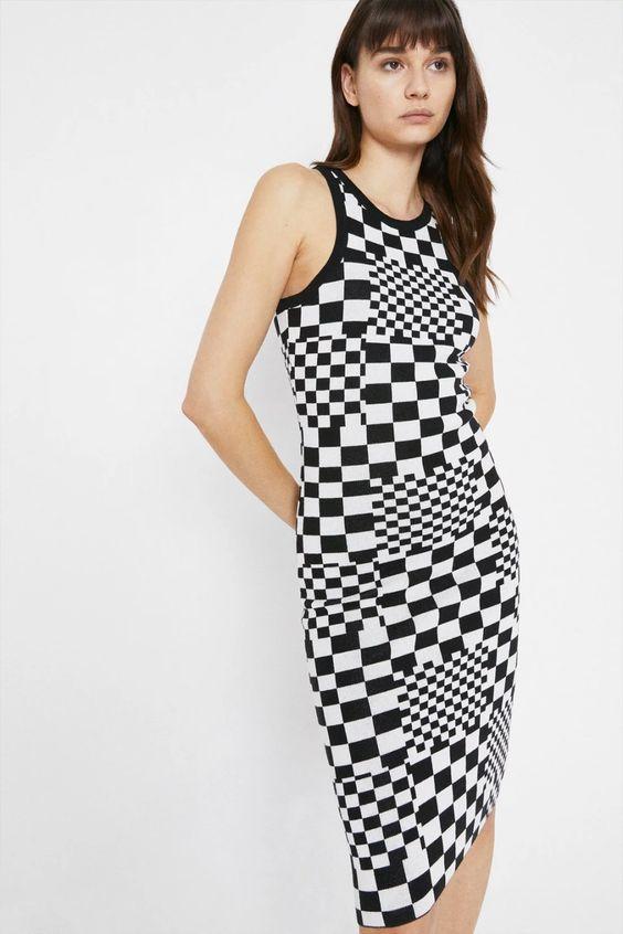 warehouse Checkerboard Knit Dress