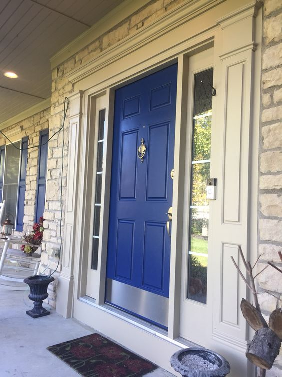 15 Shades Of Blue Front Door Designs To Pretty Up Your Home Brick House Front Door Colors House Paint Exterior Painted Front Doors