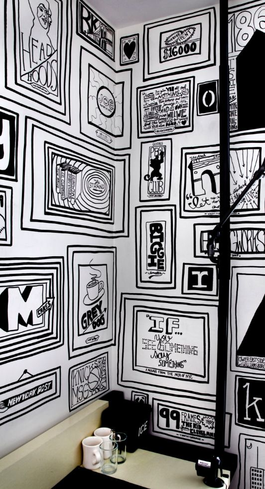 wall mural for the Ace hotel, illustrated by Timothy Goodman