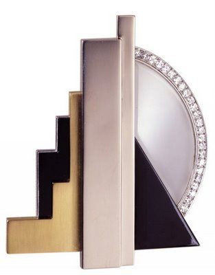 George Fouquet (1862 - 1957) -  Broche en or jaune et or blanc, onyx, laque, cristal de roche et diamants, 1925. Toledo Museum of Art
