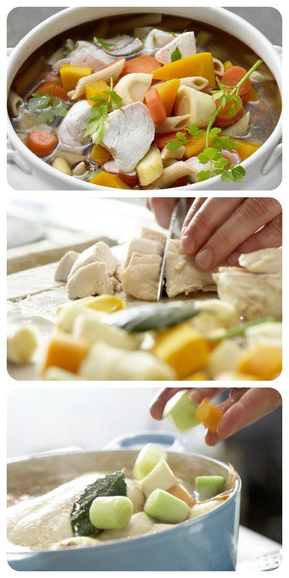 In dem üppigen Eintopf stecken viel Geschmack und Power: Hühnersuppe nach Großmutters Art – smarter mit viel Gemüse und Vollkornnudeln | http://eatsmarter.de/rezepte/huehnersuppe-grossmutters-art-smarter