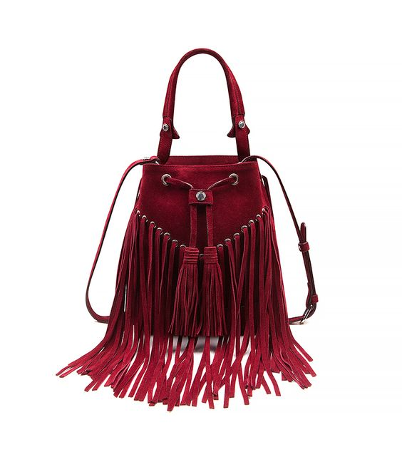 Anita Suede Flat Fringe Crossbody Bag, Camel