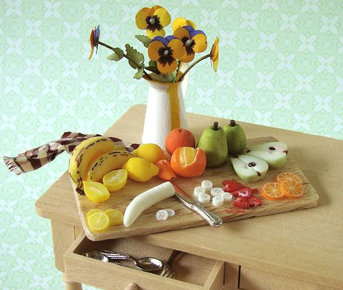 Kitchen Table Fruit Tart Polymer Clay Creations Polymer Clay Miniatures Dollhouse Food