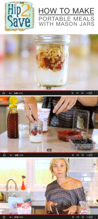 Healthy portable meals with Mason Jars. [video] by Hip2Save (It's Not Your Grandma's Coupon Site!)